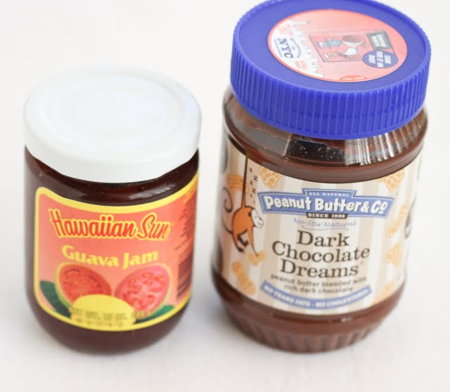 photo of a jar of guava jam and a jar of dark chocolate peanut butter