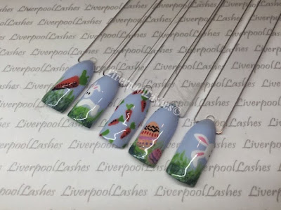 liverpoollashes liverpool lashes shellac vinylux nail art easter spring bunnies rabbits