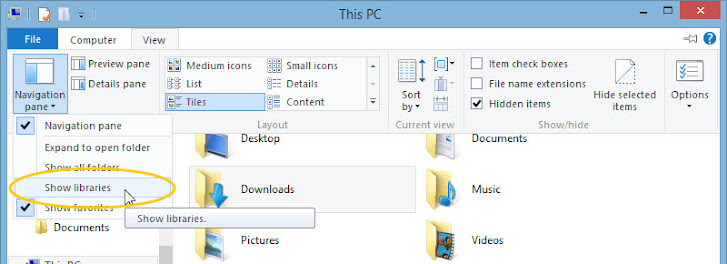 Windows 8.1: File Explorer, view library