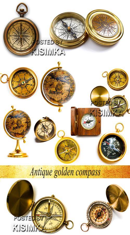 Stock Photo: Antique golden compass