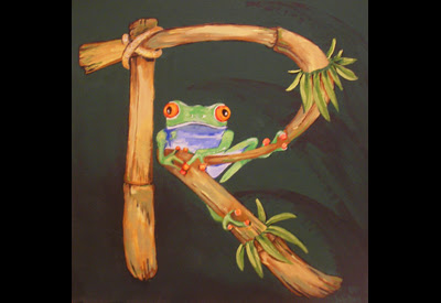 """Painting on canvas. This boy, whose name begins with the letter """"R"""" loves frogs."""