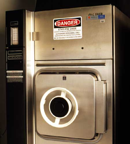 Ethylene oxide sterilizer for sterilizing instruments.