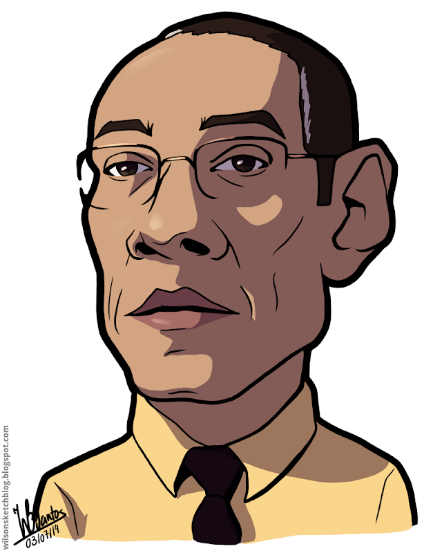 Cartoon caricature of Giancarlo Esposito as Gus Fring from Breaking Bad.
