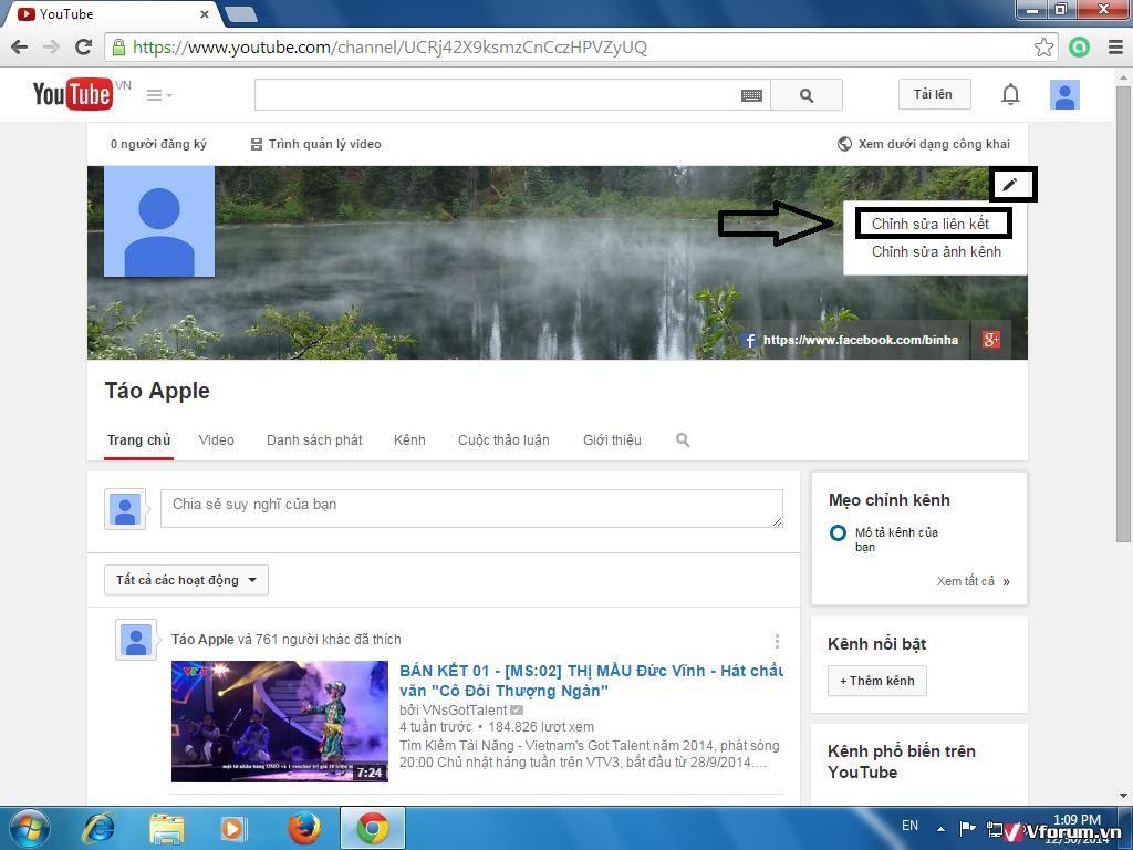 Trong giao diện chính của kênh YouTube, hãy bấm vào biểu tượng chỉnh sửa hình cái bút trên góc ảnh bìa rồi chọn chỉnh sửa liên kết.