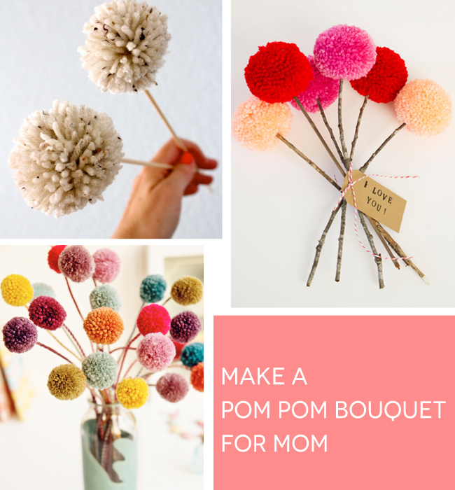 pom pom bouquet for mother's day