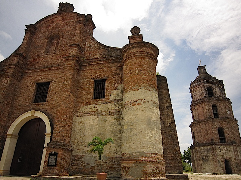 facade and bell tower of the Church of Nuestra Señora de la Asuncion in Santa Maria, Ilocos Sur