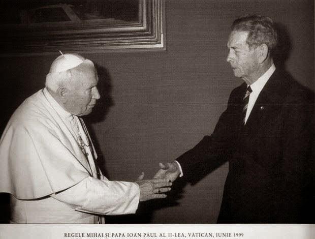 Regele Mihai I și Papa Ioan Paul al II-lea, în 1999