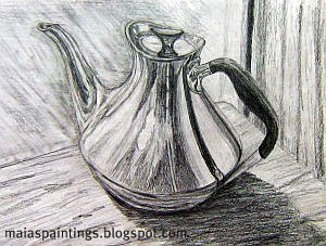 Shinny coffee pot-pencil drawing
