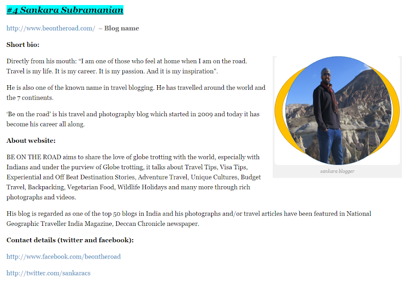 BE ON THE ROAD ranked as one of the top travel blogs in India