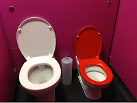 adult and child toilets in one cubicle