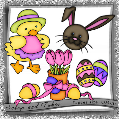 "Free scrapbook ""Colored elements for Easter"" from Scrapandtubes"