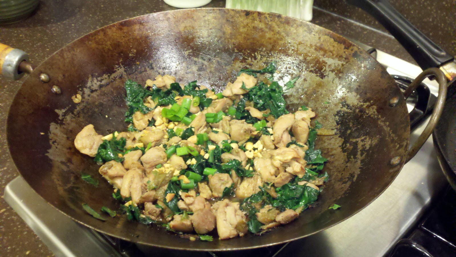 ... with my local CSA: Spicy Stir Fried Chicken and Greens with Peanuts