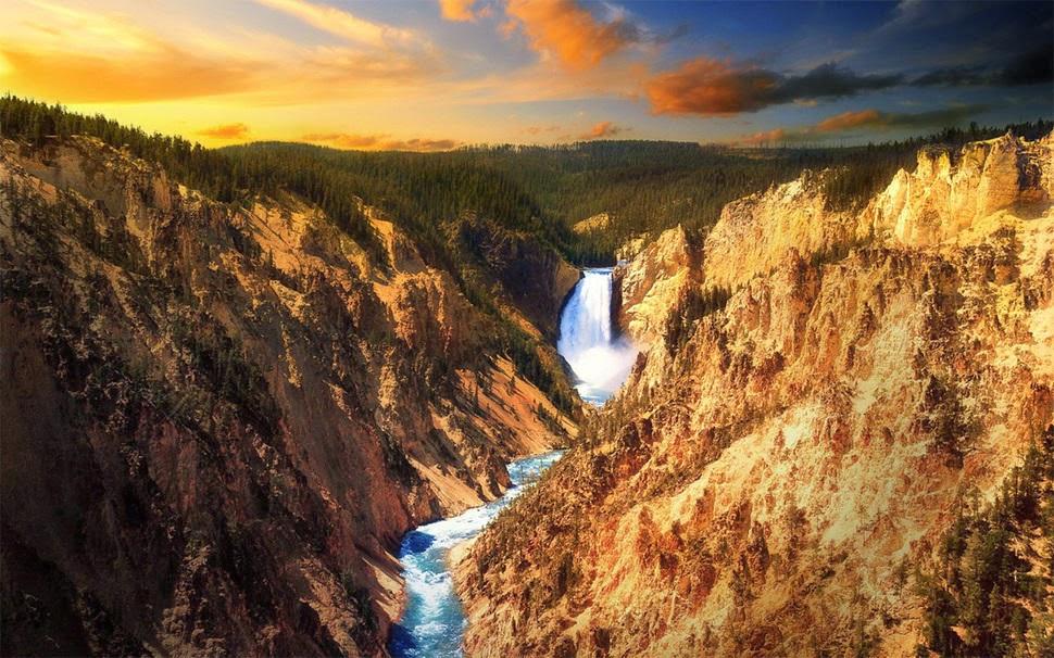 Йеллоустонский водопад, США, Красивые водопады планеты