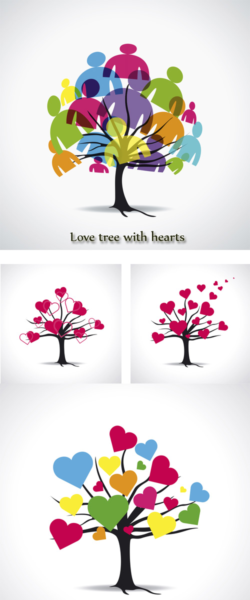 Stock: Love tree with hearts