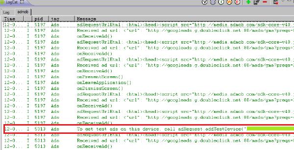 admob filter tab inside LogCat
