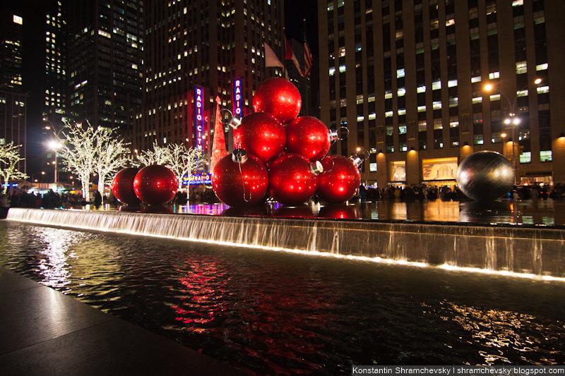 USA New York Christmas Chase of Manhattan США Нью Йорк Рождество Чейз Оф Манхеттен