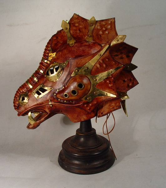 Steampunk Leather Brass Dragon MASK hood goggles LARP Bob ...