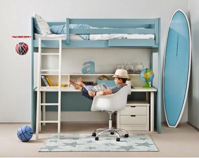 cama alta tipo litera con escritorio debajo y modulo de cajones muy funcional debido a que en un mismo espacio disponemos de una cama y una mesa de estudio