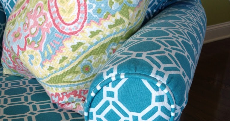 Slipcover Chic: Turquoise Outdoor Fabric For Inside