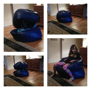 Abi between two bean bags, enticing Natta to sit on top!