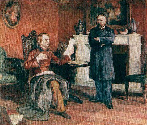 """В. Бєлінський читає А.І. Герцену свого """"листа Гоголю"""" в Парижі. Художник А. Северин."""