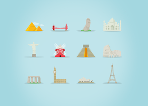Download icon những địa danh nổi tiếng ! Famous Landmarks Icon Set (AI, EPS, PSD)