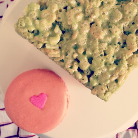 Jimbo's green tea rice krispy treat and macaron