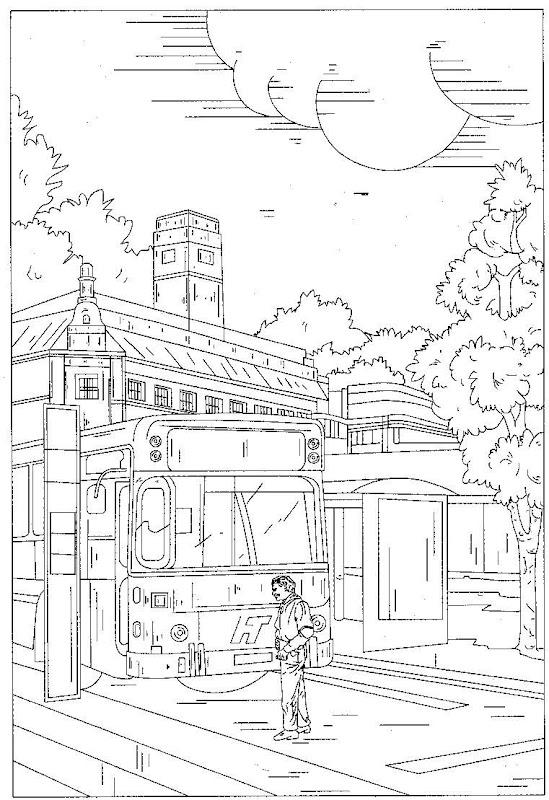 Pinto Dibujos: Estación de autobuses para colorear