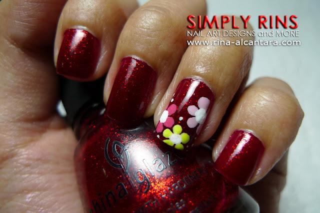 Red nail art design 01