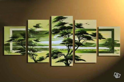 100% hand-painted wall art Spring forest green fields h