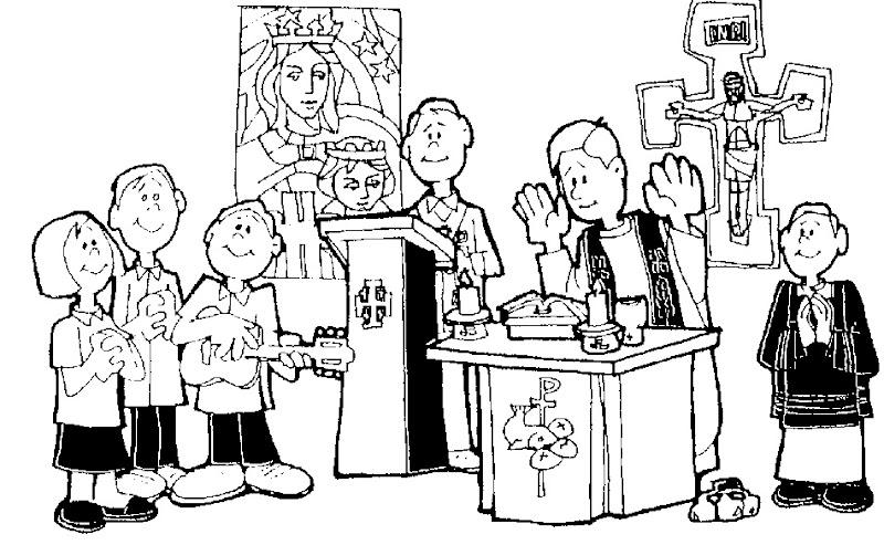 Misa en la iglesia para colorear