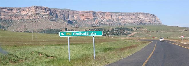 afslag Phuthaditjhaba - Vrijstaat Zuid Afrika