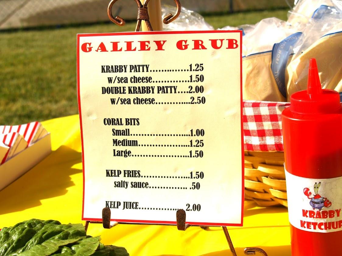 The krusty krab menu