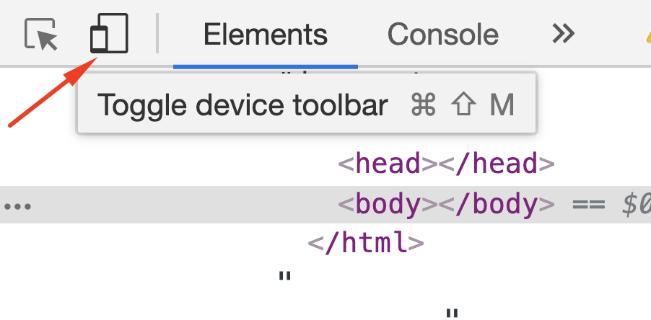 Botão que habilita e desabilita o simulador de resoluções no Chrome