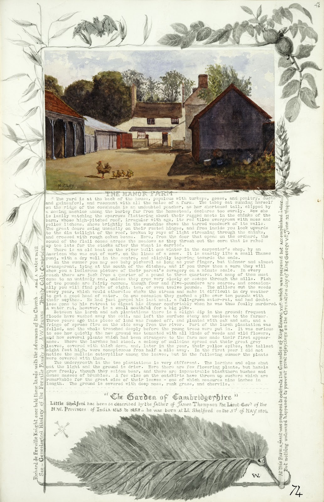 A Record of Shelford Parva by Fanny Wale P74 fo. 76, page 74: Coloured watercolour painting of the Manor Farm with description. The border includes wheat, a bat, corn and leaves, black and white watercolour. Note that Little Shelford was described as 'The garden of Cambridgeshire' and large watercolour of a leaf. [not in photographic copy]