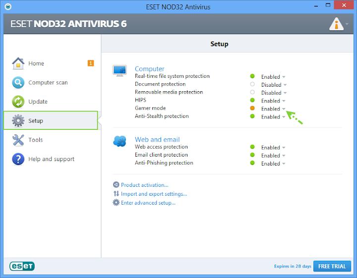 การเปิดใช้งานโหมดสำหรับผู้เล่นเกมบน Nod32 และการกำหนดค่า Nodgame01