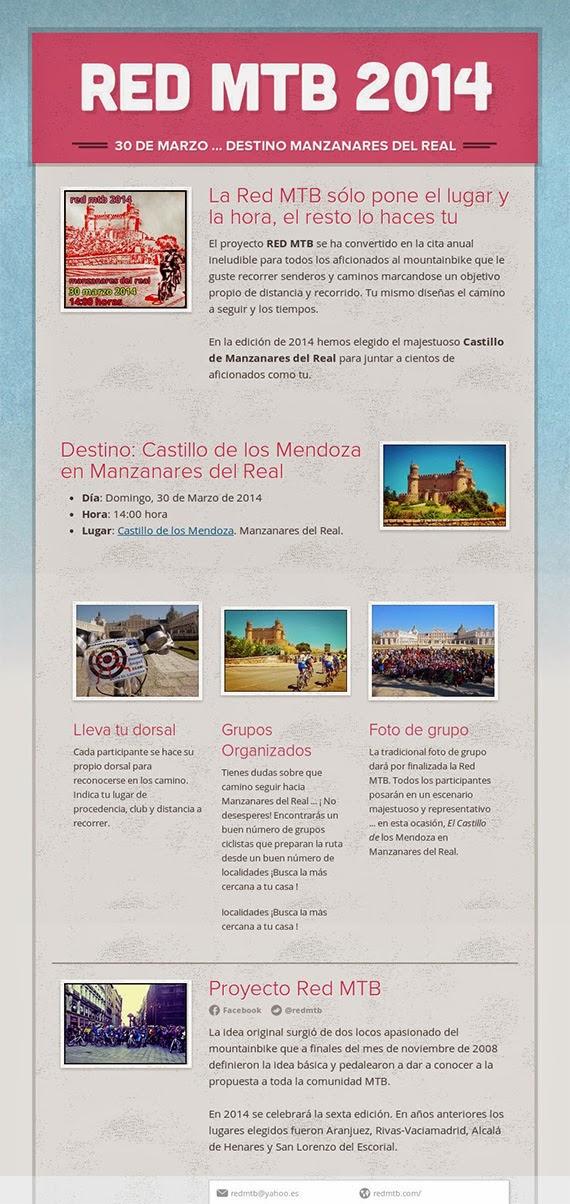La Red MTB 2014 ya tiene fecha y destino: domingo 30 de marzo en Manzanares el Real