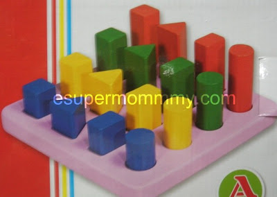 wooden toy - geometric building blocks
