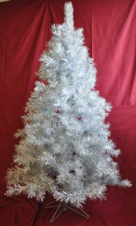 6' Silver Tinsel Artificial Christmas Tree - Retro Aluminum Style!