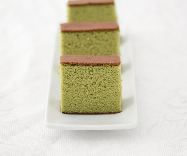 close-up photo of a slices of Matcha Green Tea Castella Cake