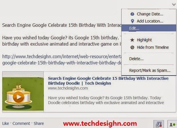 Facebook status edit feature