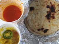 Pupusa, homemade tortillas, stuffed with cooked pork, beans and cheese, was served with salsa and curtido, a hot, spicy relish.