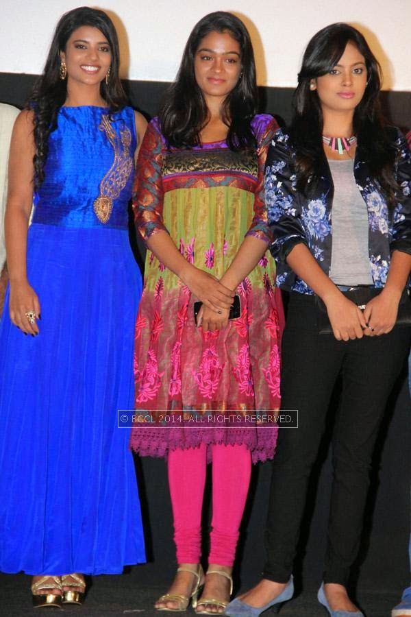 Ishwarya Rajesh, Gayathrie Shankar and Nandita during the audio launch of Thirudan Police, in Chennai.