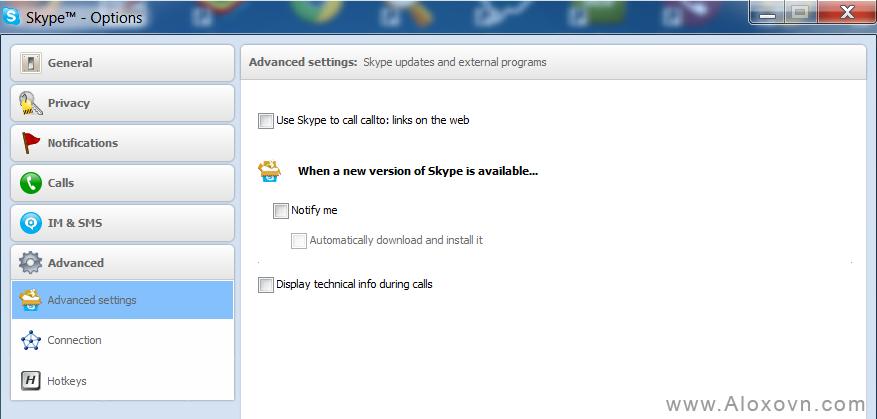 Cấu hình Skype không cho update phiên bản mới