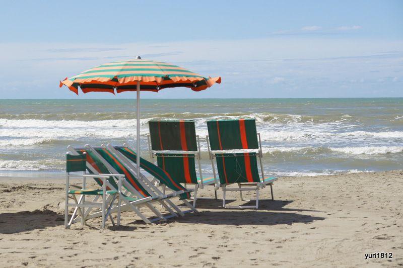 Море, пляж, зонт, шезлонг
