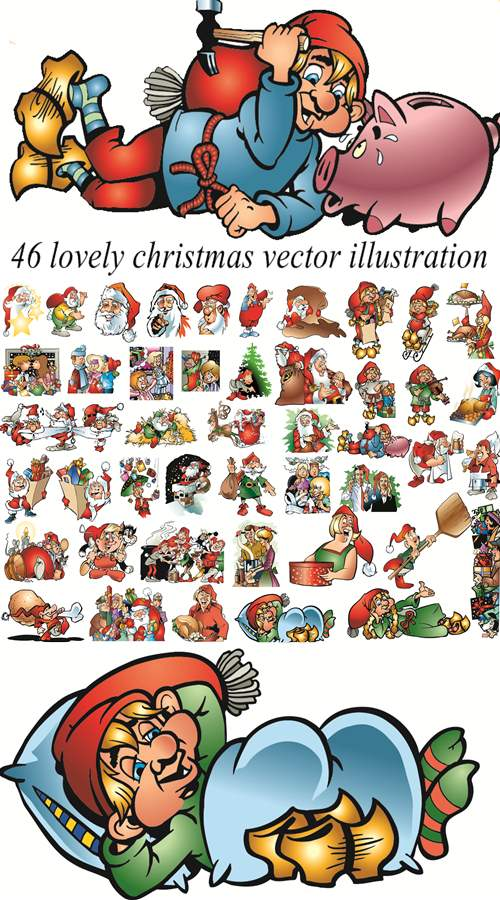 46 lovely christmas vector illustration