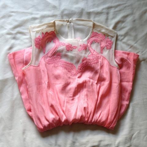 Vateno Pink Mesh Playsuit