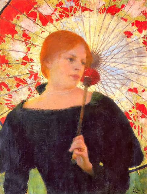 Edward Okun - Portrait of the Artist's Wife with an umbrella 1912