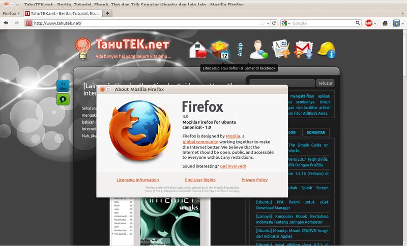 Mozilla Firefox 4 di Ubuntu 10.10 Maverick Meerkat