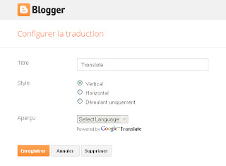 Panneau de configuration du gadget Google Traduction